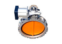 Pneumatic butterfly valve with double flange